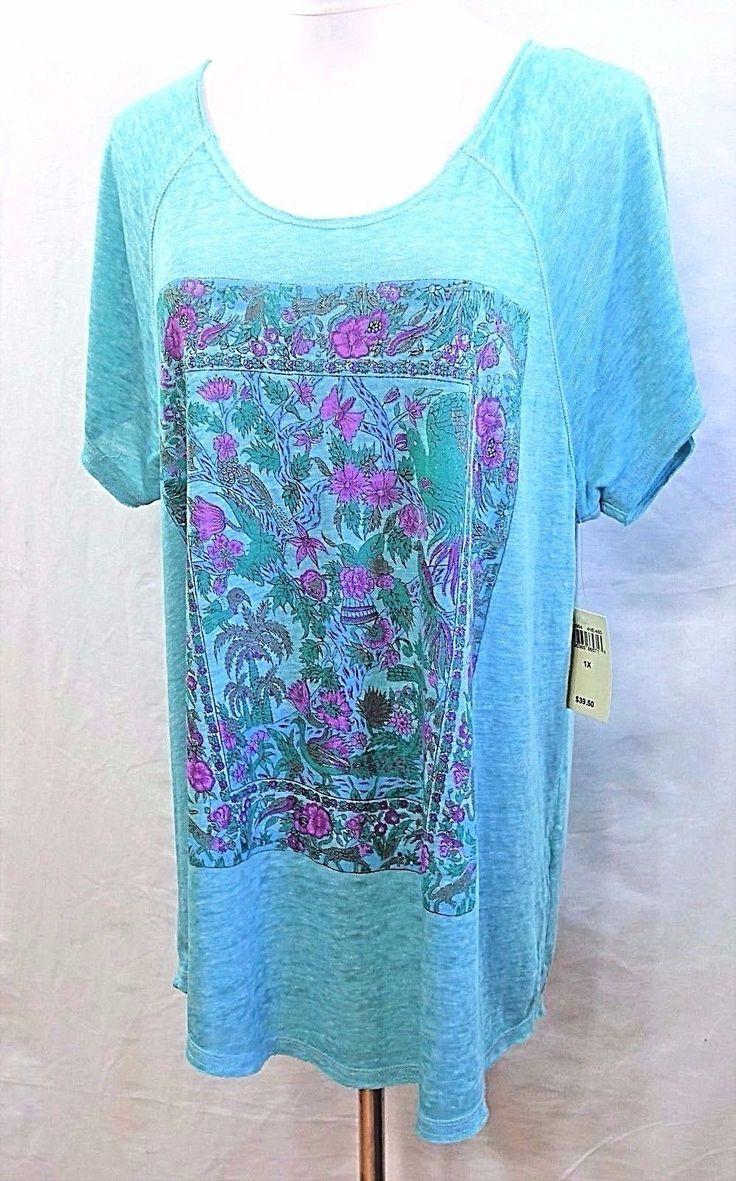 Lucky Brand Women Plus 1X 2X 3X Thin Floral Teal Fuchsia Purple Tee T Shirt Top