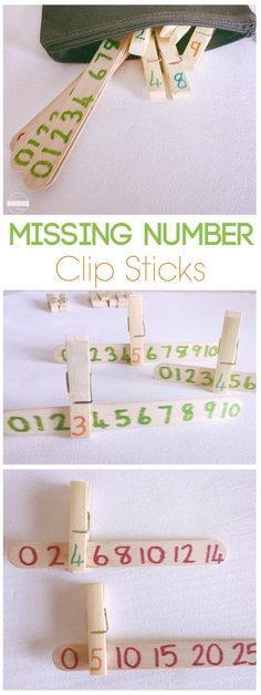 Missing Numbers Clip Sticks is a fun math activity for preschool, prek, and kindergarten