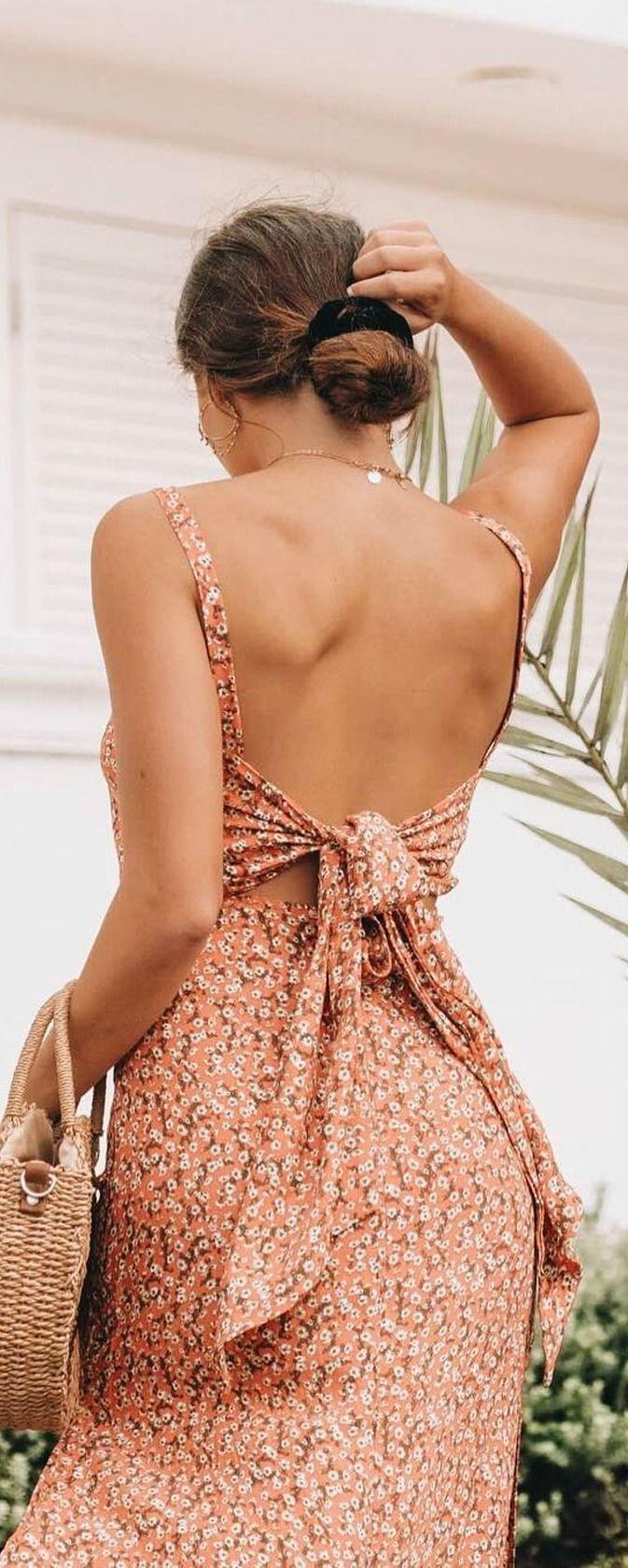 Katergo Coral Pink Floral Print Backless Midi Dress