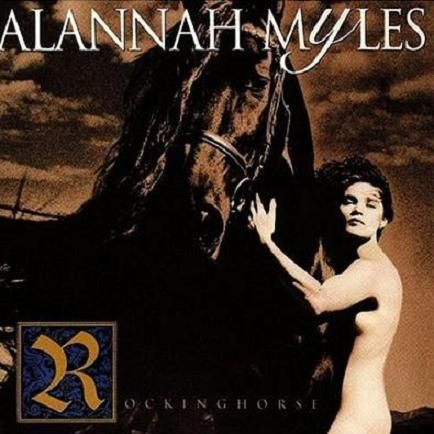 Alannah Myles on the cover of the album Rockinghorse, promoting bestiality