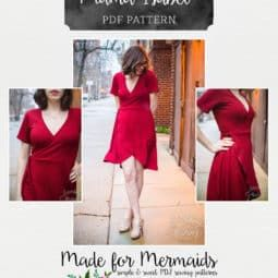 This is a PDF pattern for instant download for this beautiful WOMEN's size top or dress. THIS IS NOT A FINISHED GARMENT, it is for the pattern that show you and teach you step by step how to sew it!Designed to mash perfectly with our Mama Cassie 1/2 circle skirt for a fuller, vintage vibefor even more options!This pattern comes in Women's sizes Grey - Red ;) see size chart below. Matches perfectly to our girls Isabel pattern. Mama Isabel is the knit wrap dress you've been waitin...