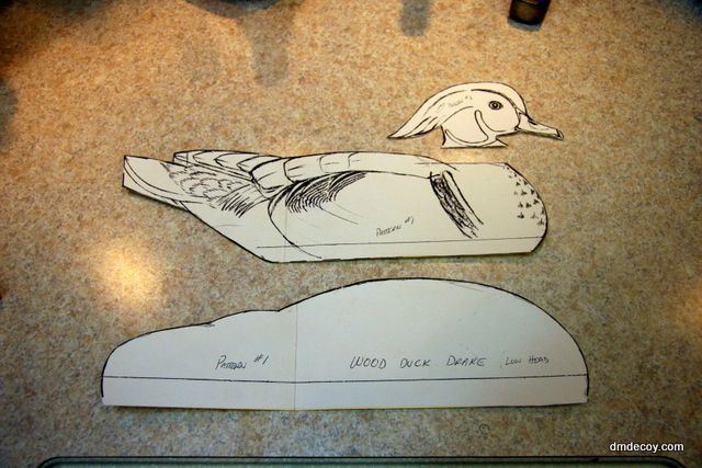 Step 1: Cutting out a decoy blank - Carving Demo - DMDECOY - Hand Carved Wood and Cork Duck Decoys by Doug Muldowney
