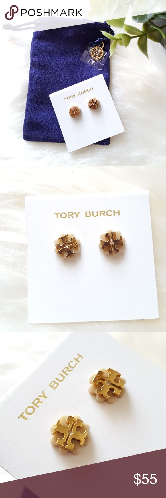 """Tory Burch Logo Flower Resin Stud Earrings Brand New with Tags - 100% Authentic   Stud earrings by Tory Burch.  Resin flowers detailed with signature double-T logo.  16-karat yellow gold plated brass.  Post backs for pierced ears.  12mm (1/2"""") diameter. Tory Burch Jewelry Earrings"""