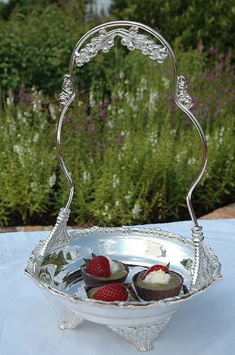 Petite Silver Afternoon Tea Basket Centerpiece