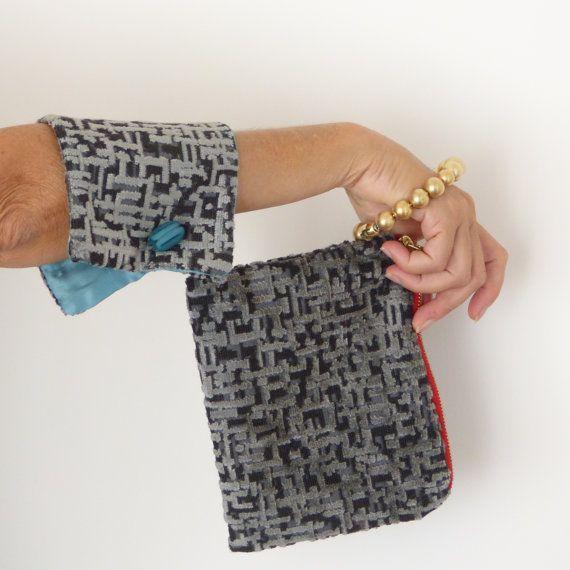 Gray wristlet bag unque evening bag cotton velvet by vquadroitaly