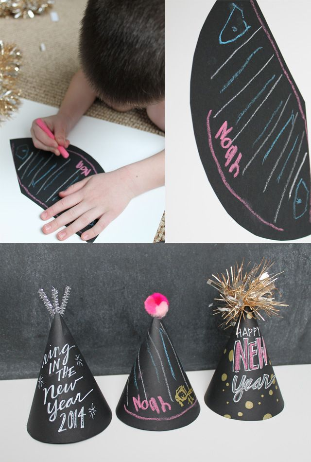 Chalkboard Party Hats! Great craft and take home gifts for your guests. Can easily be customized to any theme!