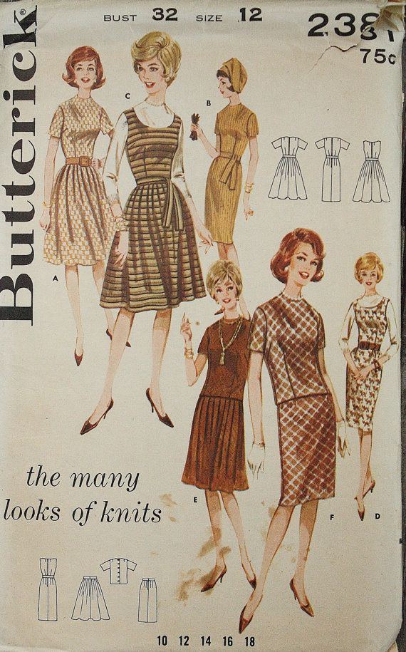 Butterick 2381 1960s 60s Scoop Neck Jumper by EleanorMeriwether