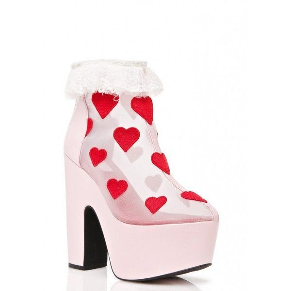 Sugar Thrillz Heart Printed High Heels ($48) ❤ liked on Polyvore featuring shoes, sandals, wedges shoes, pink wedge shoes, pink wedge sandals, block heel shoes and high heel wedge sandals