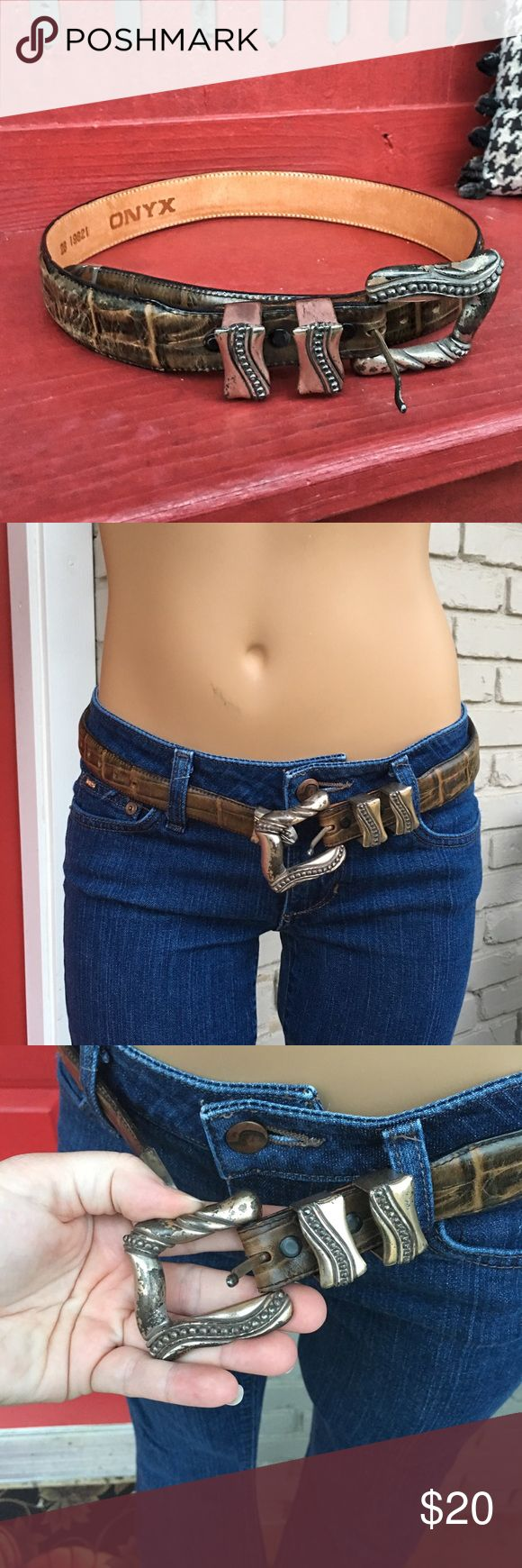 ONYX tan leather belt with silver tone hardware Gorgeous belt but does have some flaws to hardware. Fits like a Brighton size Small. (XS/S). Check out my other belts!! Onyx Accessories Belts