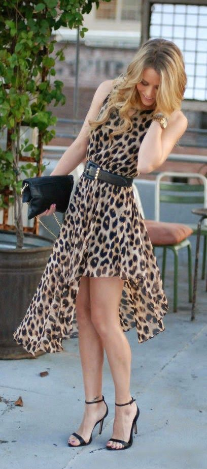 Spring / Summer - party style- dressy style - sleeveless asymmetric leopard print chiffon dress + black ankle strap heeled sandals + black clutch