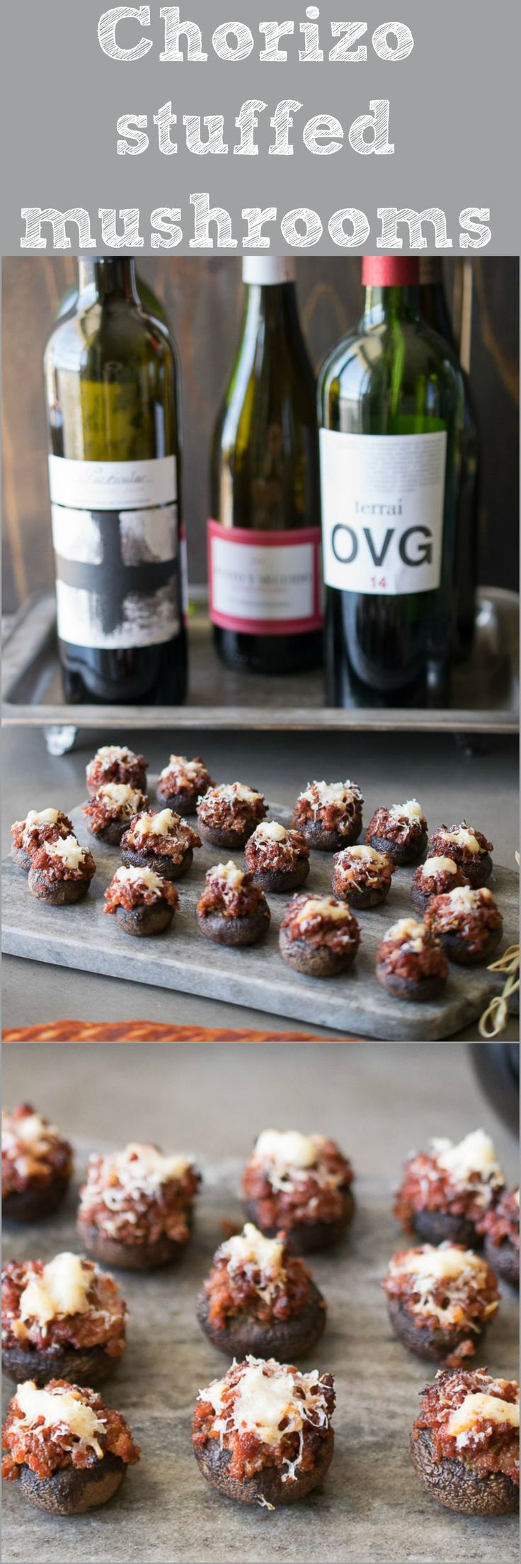 Chorizo stuffed mushrooms. Spanish chorizo cooked with rosemary and wine and stuffed into portobello mushrooms. A delicious Tapas dish.