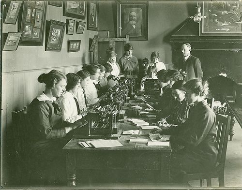 Typewriting Class 1920s. Vintage. Film photography. #tafe #education #geelong #learning