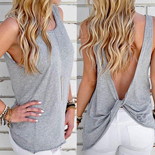 4844d13801e Tloowy Womens Sexy Backless Tank Tops Solid Color Workout Top Cute Open  Back Shirts Knotted Back