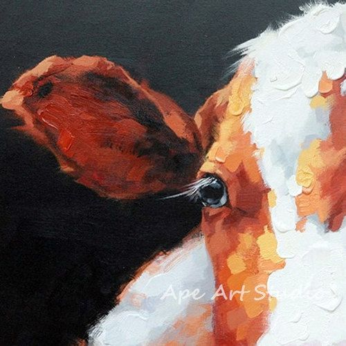 Cute cow oil painting on Canvasoriginal cow by ApeArtStudio