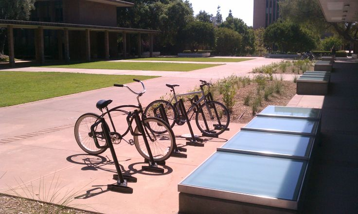 A great example of a high density, modular, aesthetically appealing, functional (yes functional) campus bicycle parking rack. These New Bike Racks Scream Ride!