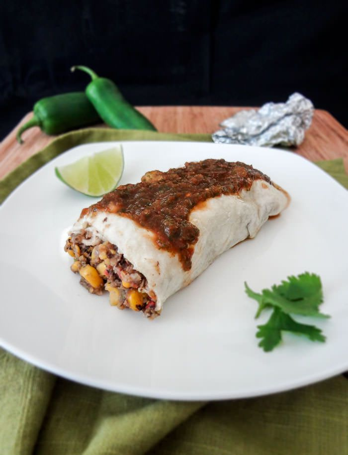 Potato & Black Bean Frozen Burritos Ingredients: 1 large potato 16 oz can black beans 1/2 white onion 2/3 cup corn (fresh or frozen) 2 roma tomatoes 1 green bell pepper 2 cloves garlic 1/2 jalapeno pepper sea salt, cumin, corriander to taste 4-5 large tortillas