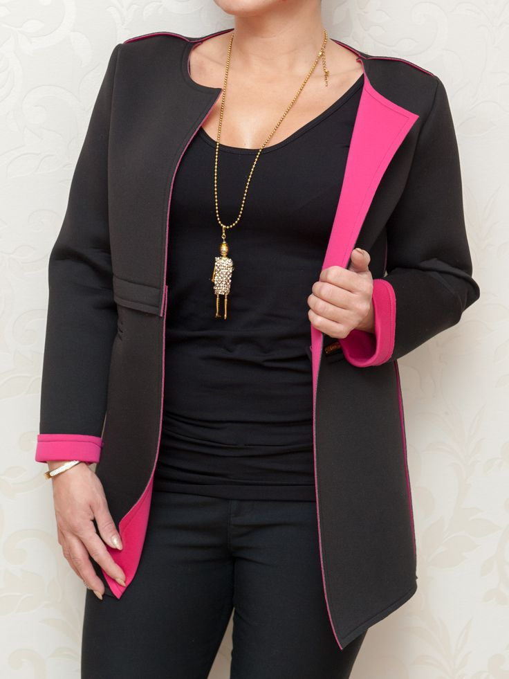 Čierne sako s ružovou podšívkou #sako