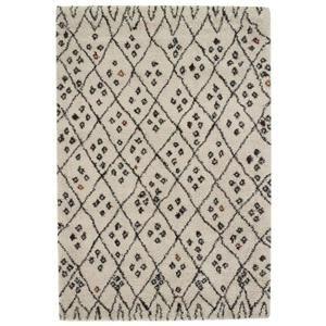 Tapis de salon Wool style ethnique 120x170 cm beige et noir