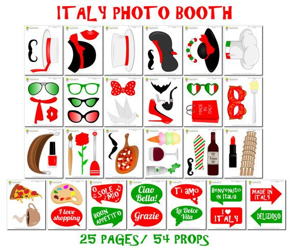 PRINTABLE Italy Photo Booth PropsPhoto Booth por HappyFiestaDesign