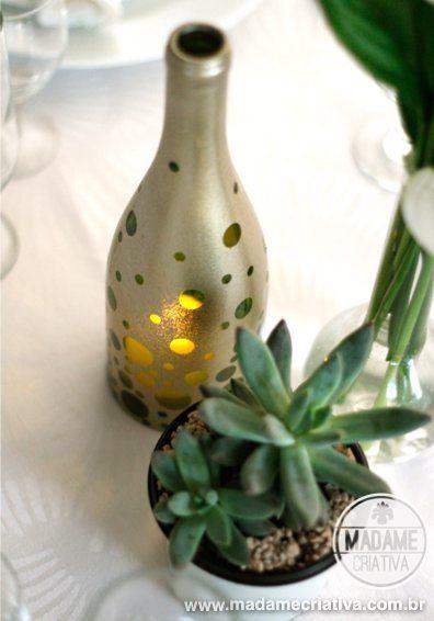 Handmade Wine Bottle Candle Holder