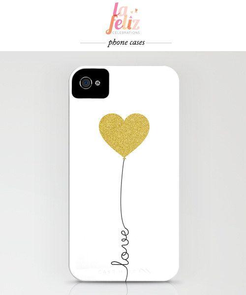LOVE gold balloon phone case