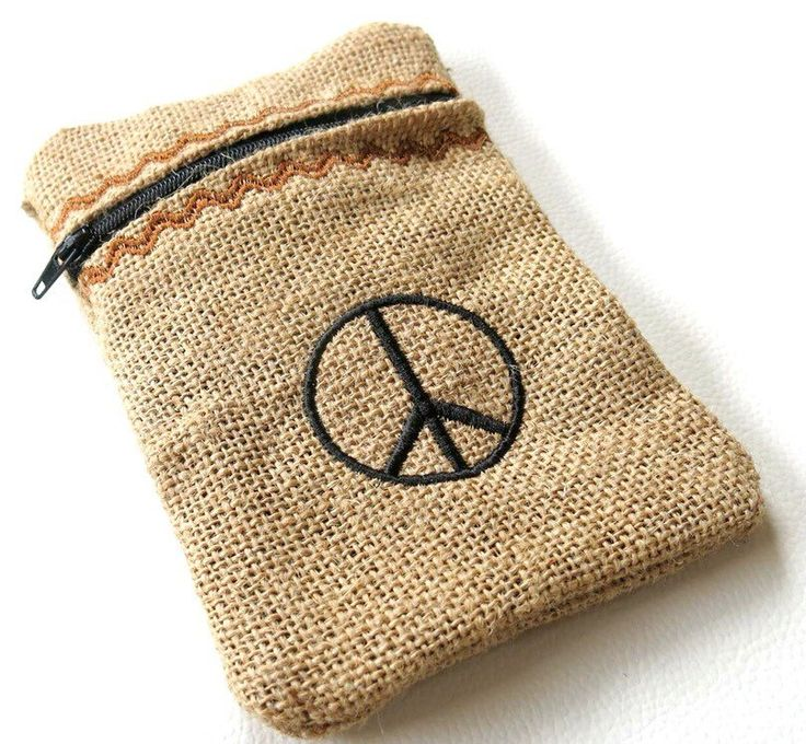 Peace Sign Hessian Zipper Bag/ Pouch/ Made To by ExpressiveSewing