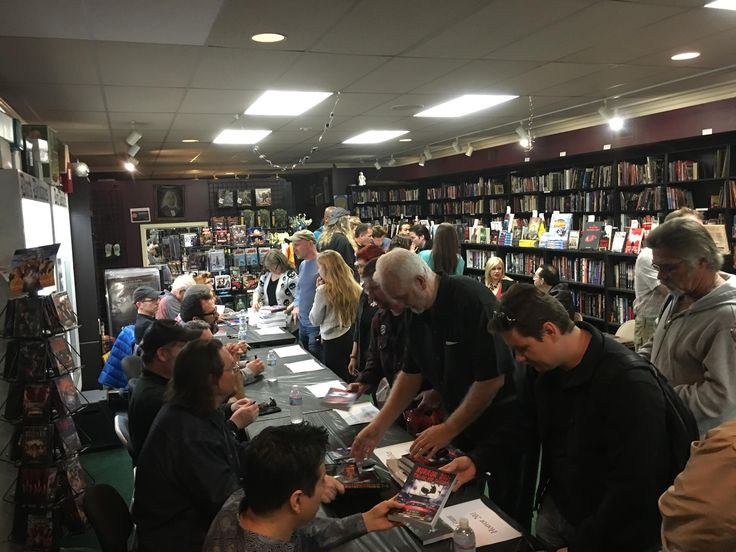 Tom Holland and others signing copies of Horror 201: The Silver Scream at Dark Delicacies.