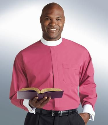 Mens Banded Collar Clergy Shirt Roman Purple with French Cuffs