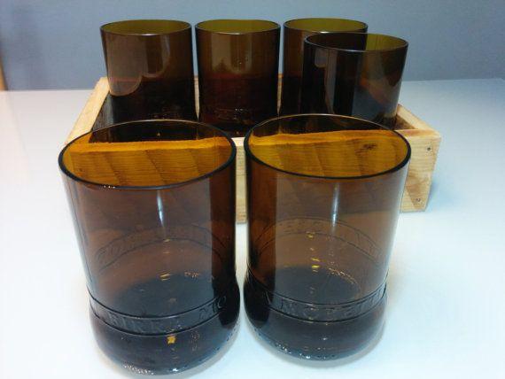 handmade six glasses cut from moretti beer  di GARAGEbySilvio