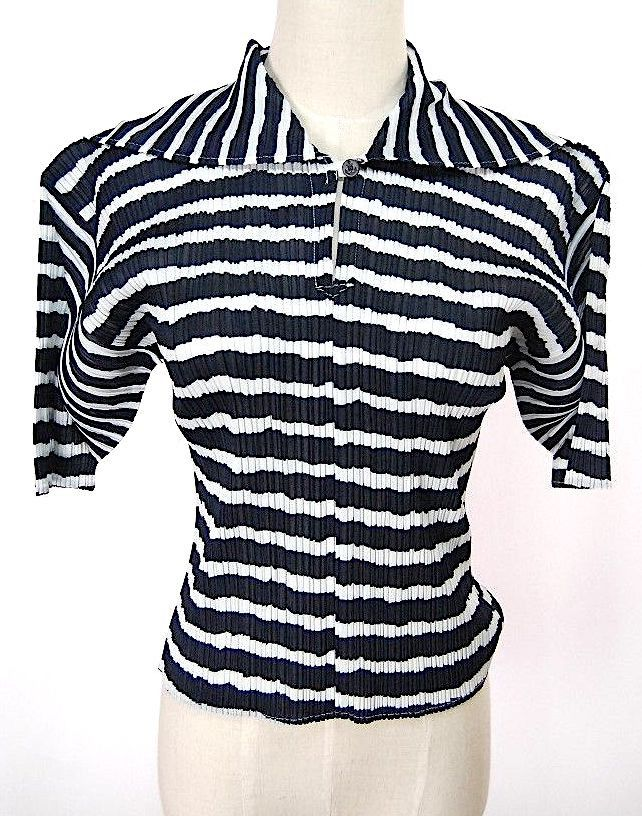 ISSEY MIYAKE. PLEATS PLEASE Navy Blue/White Stripe Short Sleeve Top