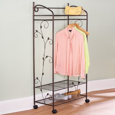 Metal Scroll Garment Rack With Shelves