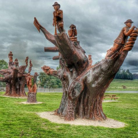 In Legerwood Tasmania there are these amazing tree carvings done with a chainsaw by artist Eddie Freeman. They commemorate local soldiers killed during World War 1, Gallipoli and the ANZAC's.