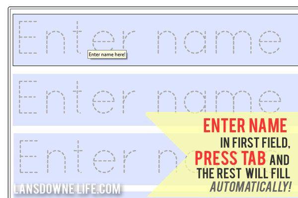 FREE printable: Preschool handwriting worksheet at LansdowneLife.com