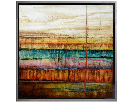 Scandinavian Designs - Abstract, square oil painting on canvas with a silver frame, ready to hang.