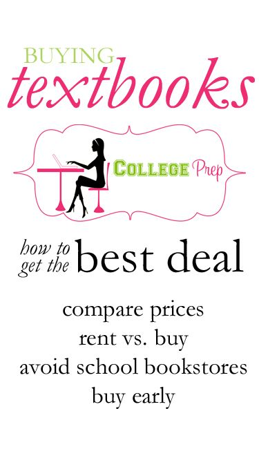 Tips for getting the BEST deal on textbooks.    Comparing prices across different platforms ensures that you're paying the LEAST amount. You can compare Amazon, Half, Chegg, Course Smart, and Courserenter prices on College Prep! (www.thecollegeprepster.com/p/textbooks.html)