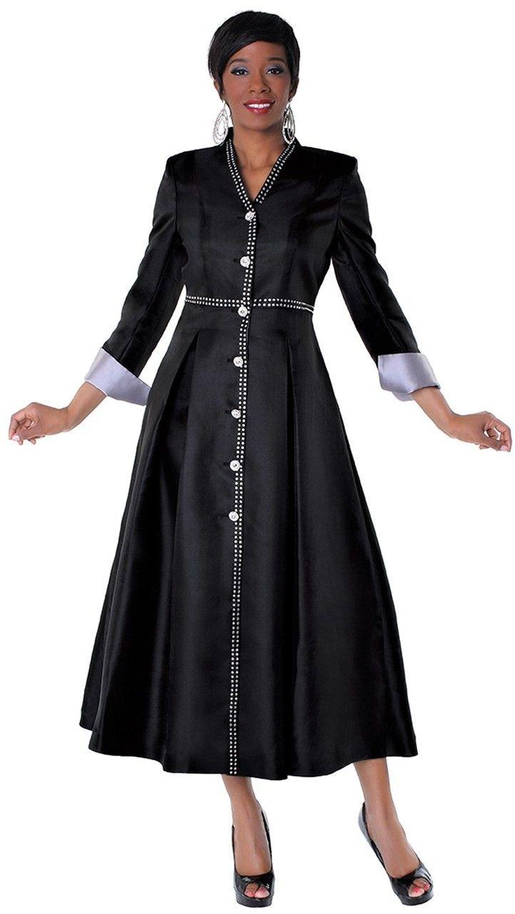 ebe3f0b35bf Ladies 1-Piece Preaching Dress In Black   Silver - Divinity Clergy Wear