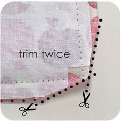 Sewing Hacks   Best Tips and Tricks for Sewing Patterns, Projects, Machines, Hand Sewn Items. Clever Ideas for Beginners and Even Experts   Trim Edges Of Your Corner Seams Before Turning Inside Out   diyjoy.com/...