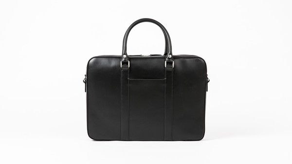Black leather briefcase pocket view