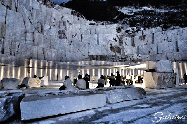 Dinner in a marble quarry @Seravezza, Lucca. Italy
