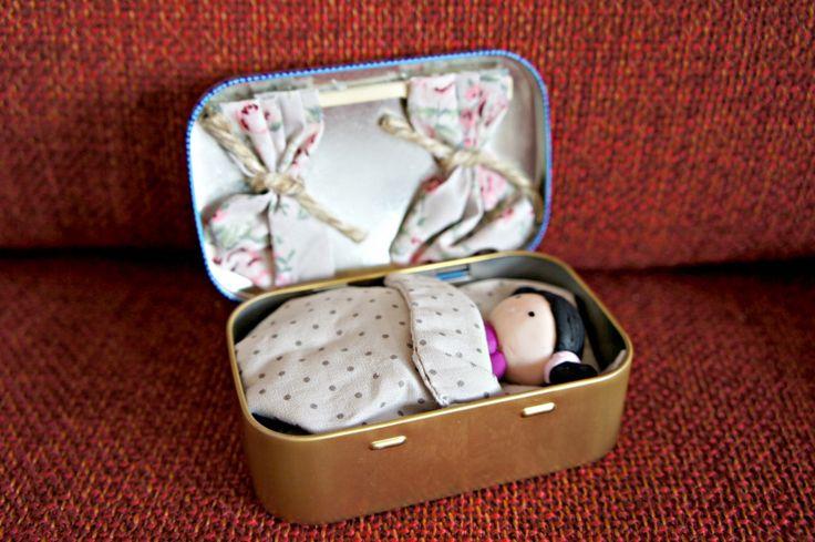 Altoid tin: Tiny doll in a box <3