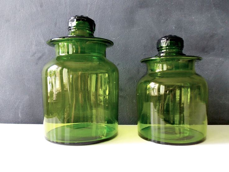 Antique Glass Apothecary Jars : Blown Green Glass Bottles With Stopper Lids