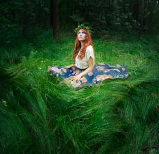 Forest Fairy portrait of woman, magic, fairytale, grass
