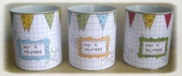 Pots pour feutres réalisés à partir de boîtes de conserve