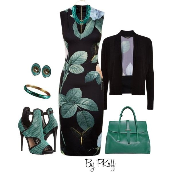 Teal & Black by pkoff on Polyvore featuring Ted Baker, Steve Madden, Sonia Rykiel, Robert Lee Morris and Devon Leigh