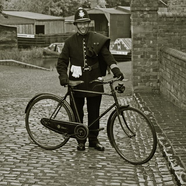 "The village 'bobby'. London's reorganized police force went on duty in 1829. British Home Secretary Sir Robert Peel introduced the legislation establishing the new police force, hence the popular nickname for London police, ""bobbies"" or ""Peelers"". We always used to see the Bobby on his bike when I was young."