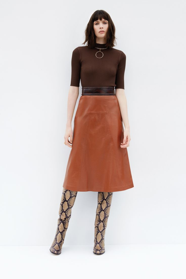 Rib Knit Top, Leather Midi Skirt