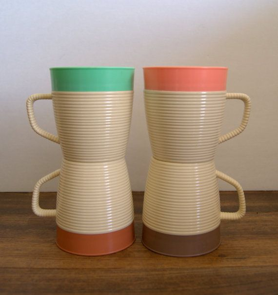 Set of 4 Raffiaware Insulated Mugs by Thermo Temp. by AtomicMagpie