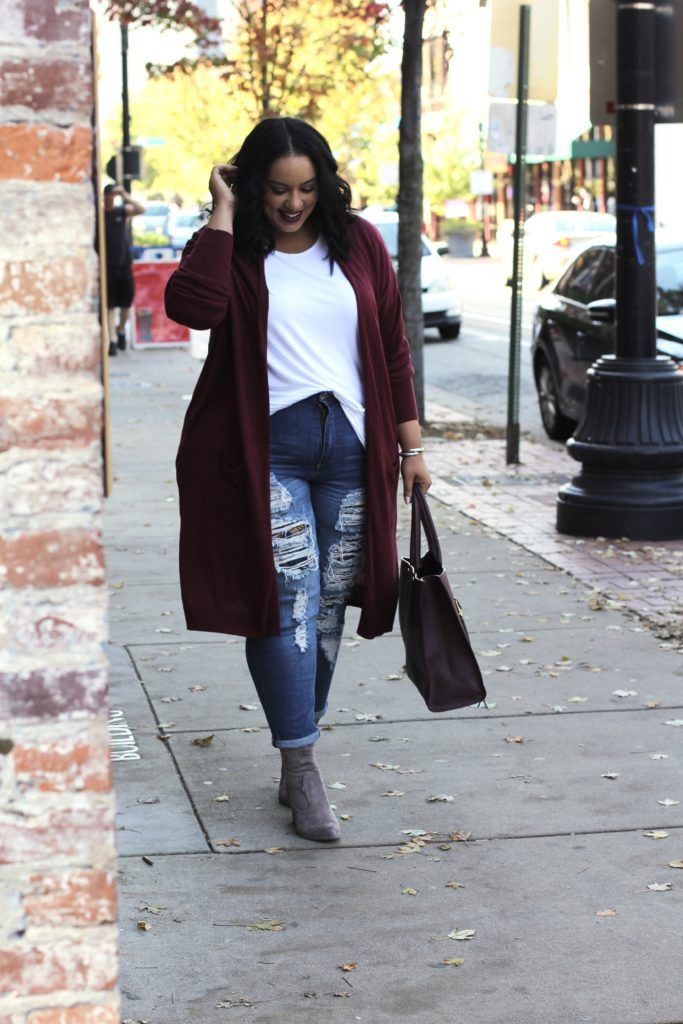 Plus Size Cardigan and Booties | Burgundy and Grey | Dolce Vita Booties | Plus Size Fall Essentials