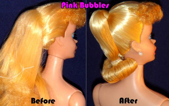 Pink Bubbles doll spa -- a place to fix your vintage Barbie doll's hair and makeup!