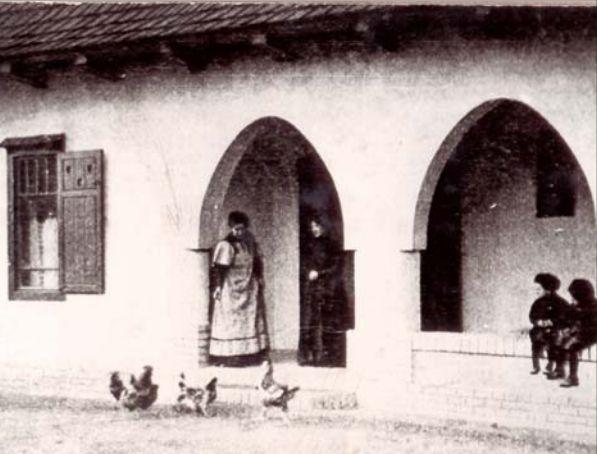 A szabályzat szerint a lakók apróbb jószágokat is tarthattak a ház körül. Baromfietetés a telepen. Képeslap (1910 körül)
